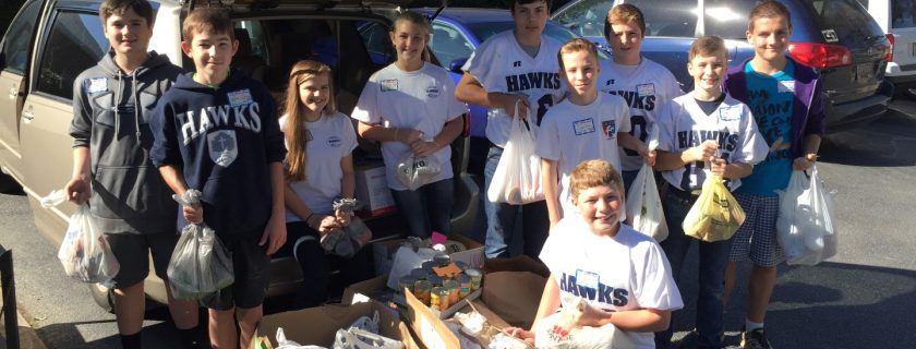 Members of the Middle School Student Council load up boxes and bags of non-perishable items to deliver to a local food bank. The students coordinated a school wide canned food drive to benefit the Food Bank of Greenwood County. According to Mrs. Zana Evans, MS Student Council faculty advisor, 1,376 non perishable items were collected from GCS students and families. To increase participation among the students, the collection was also a competition between grades. Mrs. Goforth's K5 class brought in the most with almost 350 items. Mrs. Taylor's 7th grade class had the most in Middle School with 163 cans and the high school winner was the 9th grade class with 147 items.