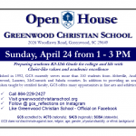 Open House – April 24 from 1-3 PM