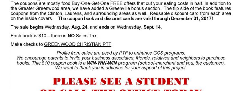 Coupon Books On Sale Wednesday, August 24 – September 14