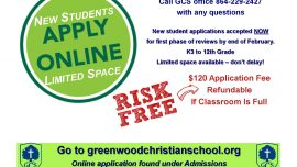 New Student Applications Open Now